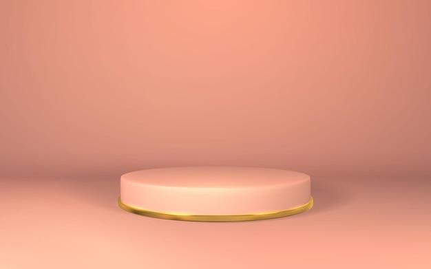 3dピンクの台座。空の部屋に表彰台を表示。シリンダー表彰台での製品のステージ。
