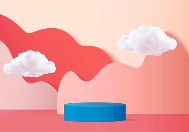 연단과 구름 3d 최소한의 3d 핑크 렌더링