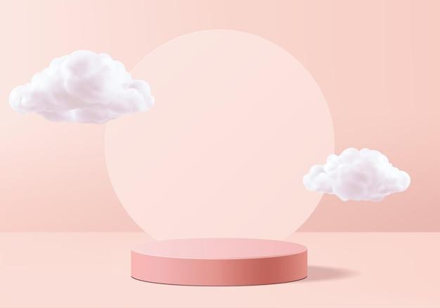 3d розовый рендеринг с подиумом и облачной белой сценой