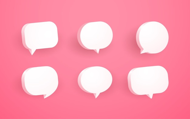 3d pink speech bubble chat icon collection