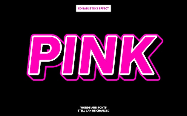 3d pink text style