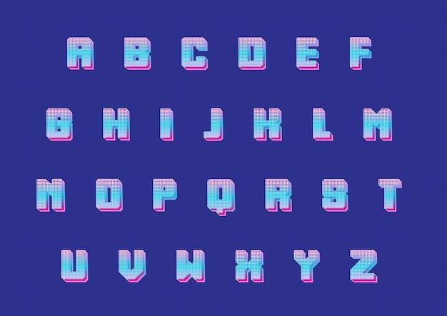 3d 픽셀 게임 알파벳 세트