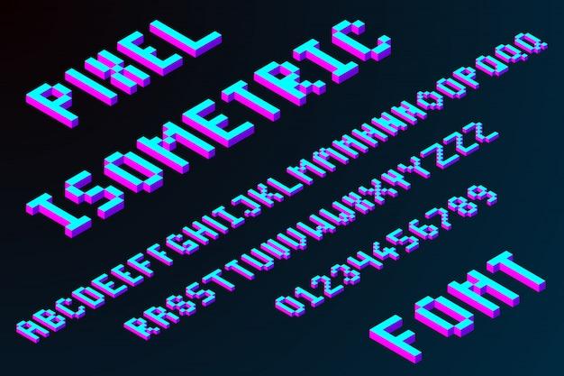3d pixel isometric font