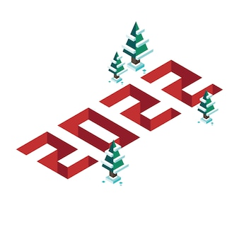 3d pixel isometric numbers 2022 for merry christmas and new year banner in flat design