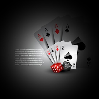 3d playing cards and dices