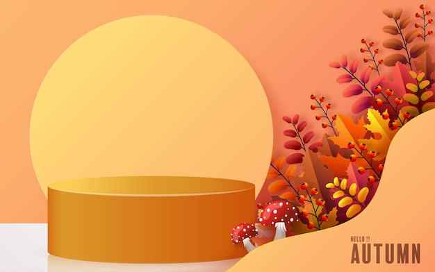 幾何学的な形の秋の休日の季節の背景を持つ3d表彰台の背景製品