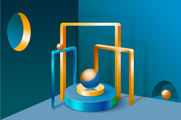 3d podium background with golden elements