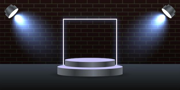 ランプイラストテンプレートデザインと3d表彰台の背景