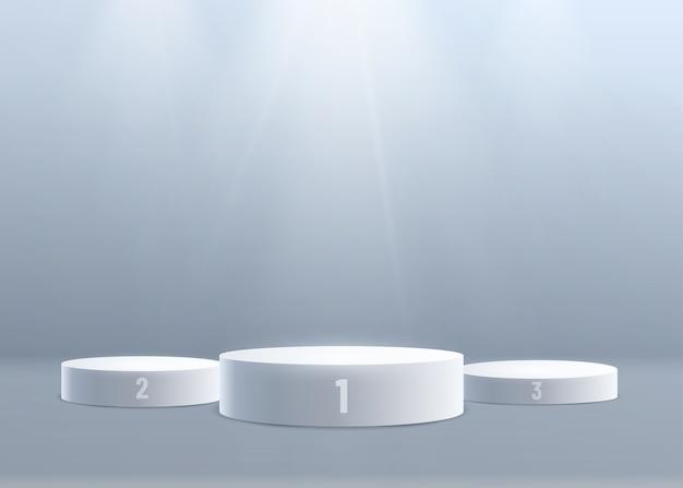 上からの光で3d表彰台の背景。 1位、2位、3位。数値指定。