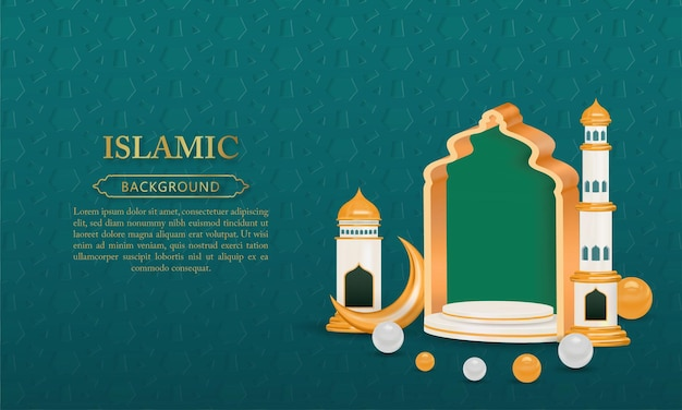 3d podium islamic background with gold gate crescent moon minaret mosque and realistic pearls
