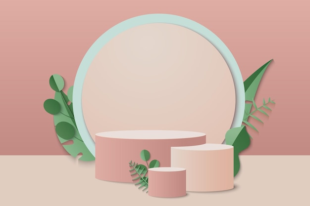 幾何学的な製品を使用した3d表彰台の最小限のシーン。表彰台でレンダリングする背景ベクトル3dクリーム色。抽象的な背景。化粧品を展示するシーン。背景3d表彰台製品のレンダリング