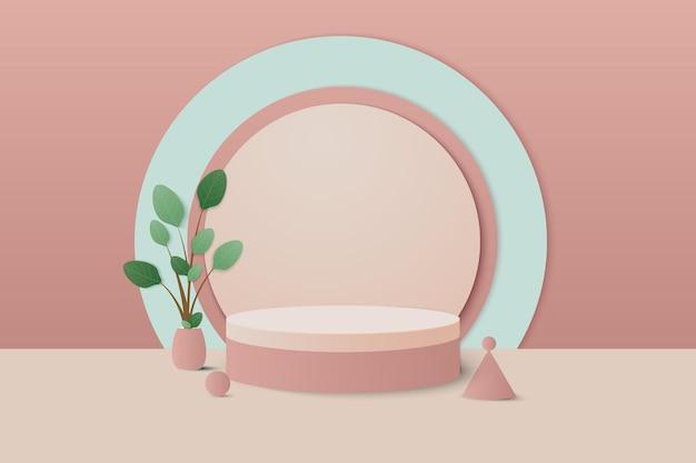 3d podium minimal scene with geometrical product cream colors rendering with podium