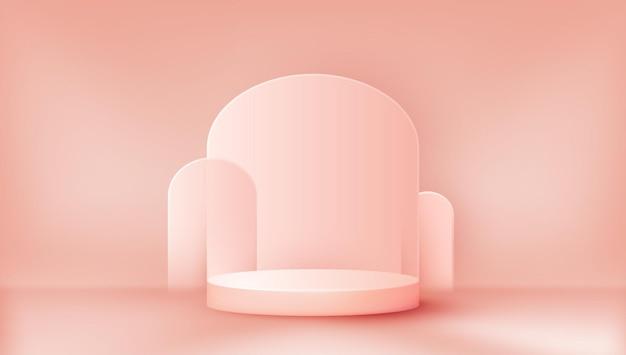 부드러운 핑크 색상의 3d 연단 제품 디스플레이 배경