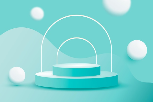 3d podium scene display with white frames and shapes
