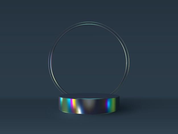 虹色の 3 d 表彰台シーン。