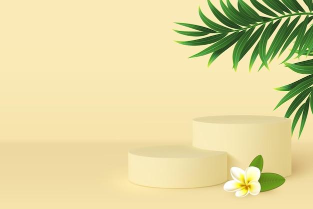 熱帯の葉とプルメリアの花の3d表彰台シーン。