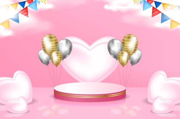 3d podium stage promotion background with realistic hearth and balloon