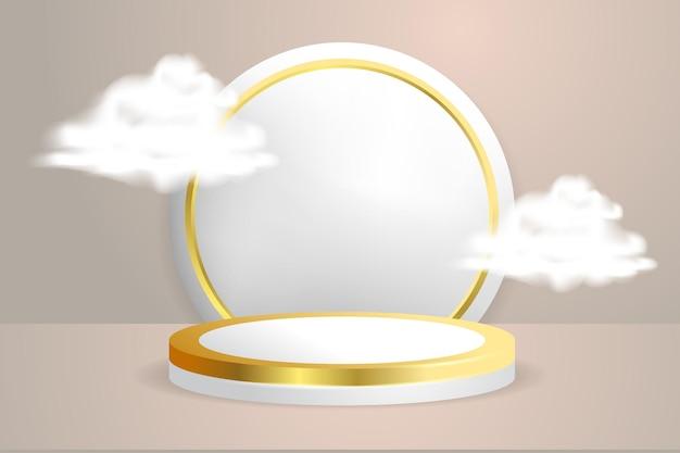 雲ベクトルillustraionと3d表彰台ステージ