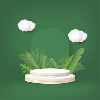 3d podium with palm leaves and cloud on green background