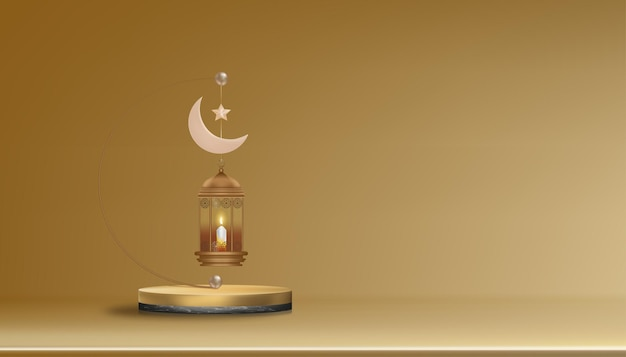 3d podium with traditional islamic lantern candle pink gold crescent moon and star. horizontal islamic banner