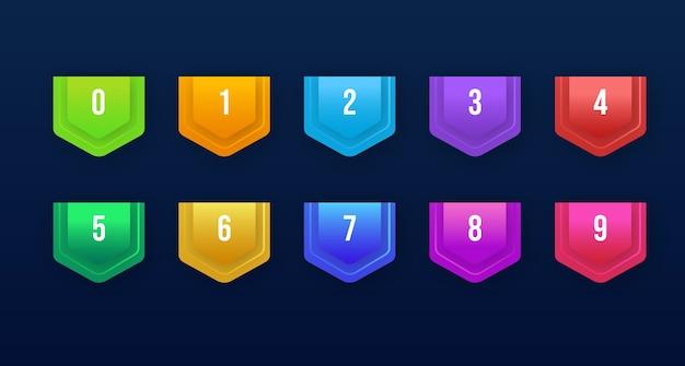 グラデーションの箇条書きボタンの3dポインティングセット番号1〜10