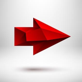 현실적인 그림자와 밝은 배경이 있는 왼쪽이 있는 3d 다각형 빨간색 화살표