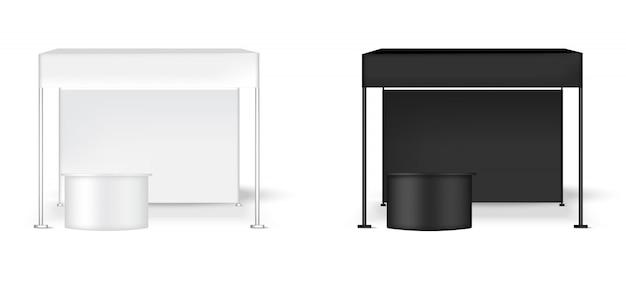 テーブルが付いている3d現実的なテントの表示壁popブース