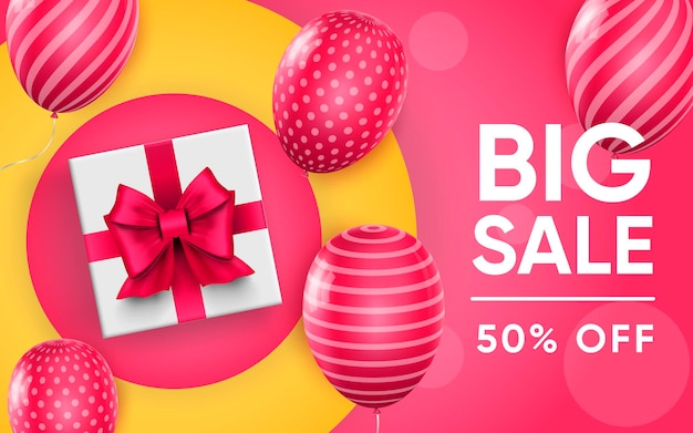 3d poster of big sale to 50 percent off with balloons in realistic design