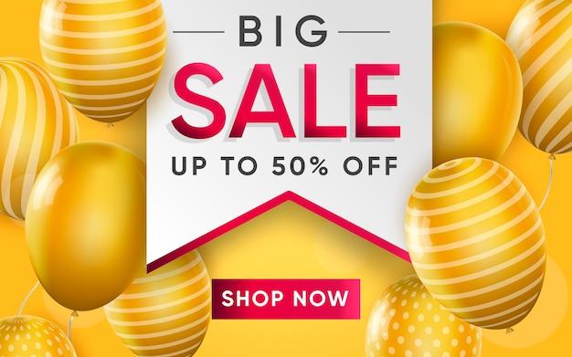 3d poster of big sale on label realistic design