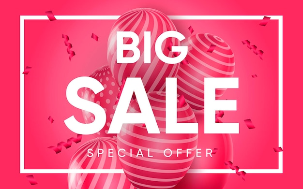 3d poster of big sale realistic design
