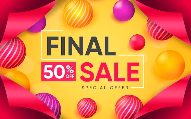 3d poster of final sale to 50 percent illustration of advertising