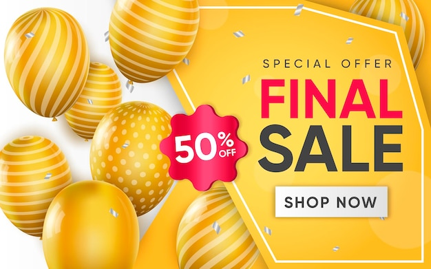 3d poster of final sale realistic design illustration of advertising