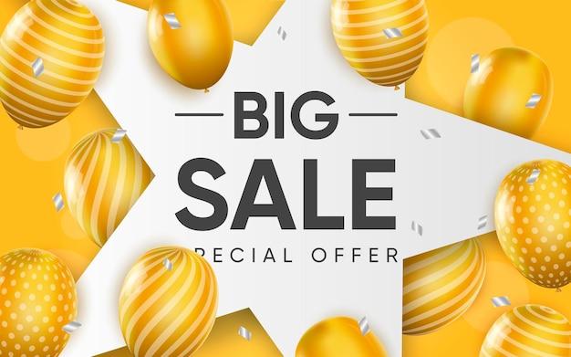 3d постер большой распродажи с желтыми шарами в реалистичном дизайне