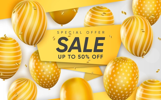 3d poster of sale up to 50 percent off realistic design illustration of advertising
