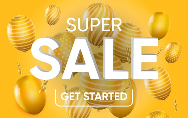 3d poster of super sale get started realistic design