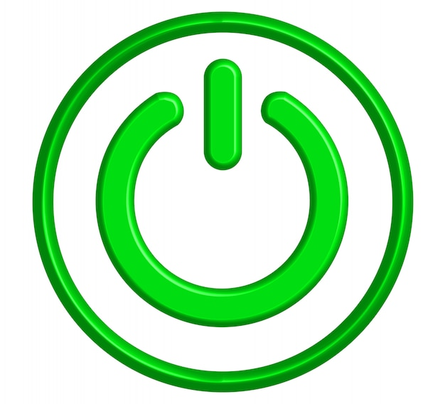 3d power switch icon, green fluorescent