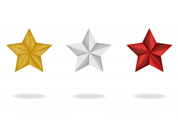 3d premium star with shadow on white background vector illustration