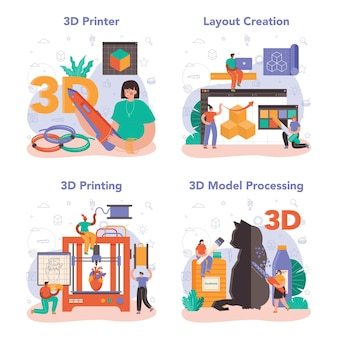 3d printer concept set. digital designer drawing with electronic tools