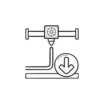 3dプリンター押出機印刷手描きアウトライン落書きアイコン。 3d印刷、プリンターのノズル方向の概念。白い背景の上の印刷、ウェブ、モバイル、インフォグラフィックのベクトルスケッチイラスト。