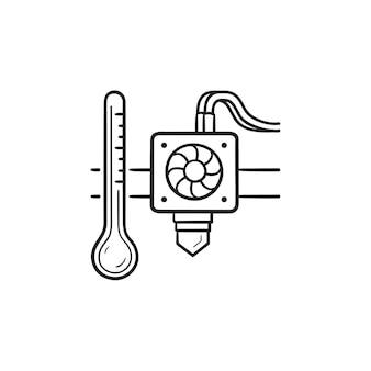 3d 프린터 압출기 온도 손으로 그린 개요 낙서 아이콘. 노즐 및 인쇄 온도 개념