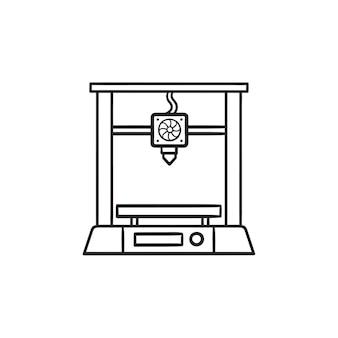 3d 프린터 손으로 그린 개요 낙서 아이콘입니다. 적층 제조, 현대적인 3d 프린팅 기술 개념