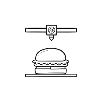 3d printer making hamburger hand drawn outline doodle icon. printing edible food, innovation technology concept. vector sketch illustration for print, web, mobile and infographics on white background.
