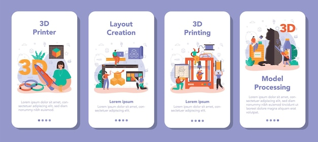 3d 프린터 모바일 애플리케이션 배너 세트입니다. 디지털 디자이너 드로잉