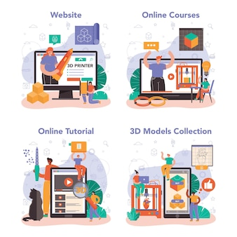 Набор онлайн-сервисов или платформ для 3d-принтеров. рисунок цифрового дизайнера