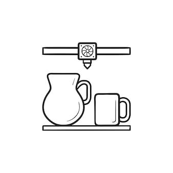 3d 프린터 인쇄 주전자와 머그 손으로 그린 윤곽선 낙서 아이콘. 적층 제조, 유리 제품 개념. 인쇄, 웹, 모바일 및 흰색 배경에 인포 그래픽에 대한 벡터 스케치 그림.