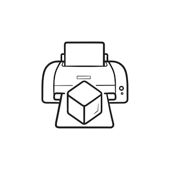 3dプリンターは、立方体の手描きのアウトライン落書きアイコンを印刷します。 3dオブジェクトの印刷、3次元プリンターの概念