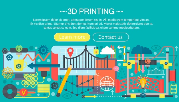 3d printer technology flat concept