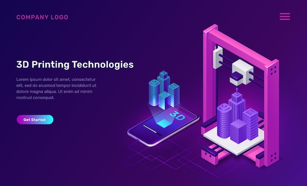 3d printer technology, isometric concept