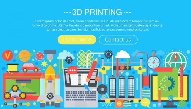 3d printer technology web concept