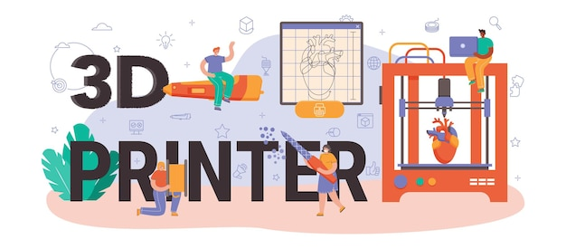 Типографский заголовок 3d-принтера. цифровой дизайнерский рисунок с электронными инструментами и оборудованием. создание макета или модели на оборудовании для 3d-печати. плоские векторные иллюстрации